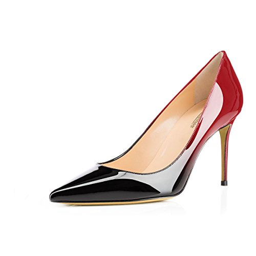 Modemoven Women's Red Black Pointed Toe Pumps Slip-on Office Business High Heels Sexy Stiletto Shoes 10 M US