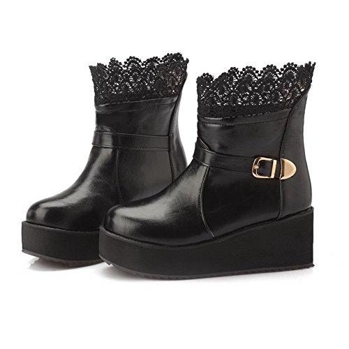 AgooLar Damen Mittler Absatz Rein Rund Zehe Blend-Materialien Ziehen auf Stiefel, Schwarz, 36