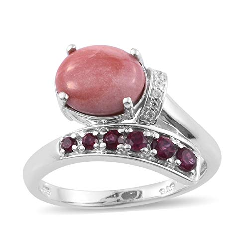 Peach Opal Rhodolite Garnet Bypass Ring 925 Sterling Silver Platinum Plated Gift Jewelry for Women Size 8
