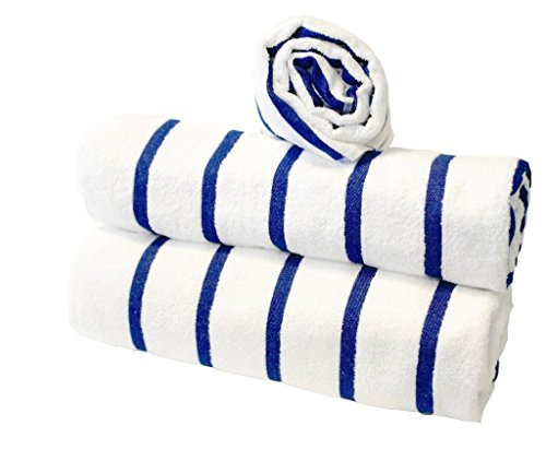 New Blue Striped Pool/Beach Towel by GlobalTex - Luxury Collection Set of 3 (Royal Hotel Resort)
