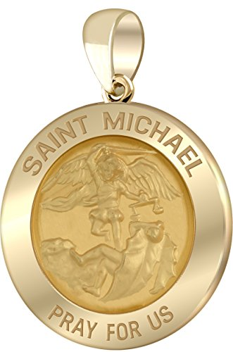 (US Jewels And Gems Men's 14k Yellow Gold Saint Michael Polished Finish 1in Hollow Round Pendant)