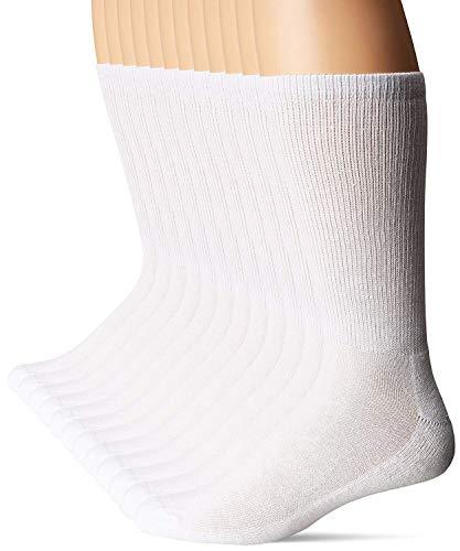 Hanes Men's Active Cool 12-Pack Crew SocksBIG Shoe: 12-14 / Sock: 13-15, White)