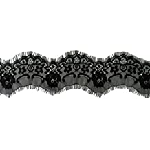MonkeyJack 3 Yards 75mm/2.95'' Beautiful Eyelash Lace Trim Ribbon For Sewing Crafts Underwear Decoration Lace Headband Wedding Accessories DIY Materials - black