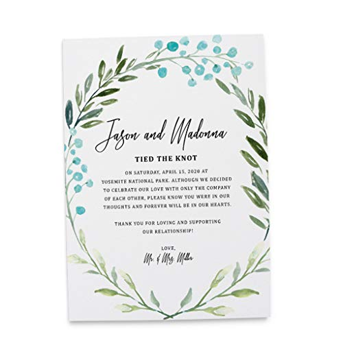 We Eloped Card Ideas, Wedding Announcement Wording Cards, Simple Wedding Announcement, Ecology Style Design by LoveAtEverySight- Excited to Announce Card, Floral Theme Set of 20