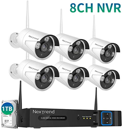 Wireless Security Camera System, NexTrend 8 Channel HD Surveillance DVR Kits with 1TB Hard Drive,6 Indoor Outdoor Cameras for Home Security with Night Vision,Easy Setup Free APP