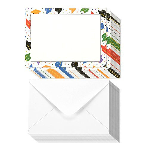 50 Pack Multicolored Graduation Cap Design Invitation Kit - Includes Cap Single Bordered Blank Invitation Paper, Graduation Announcements Party Ceremony, Envelopes Included 5 x 7 Inches