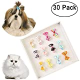 Genenic 30Pcs Dog Hair Clips Small Bowknot Hair Bows with Clips Pet Grooming Products,Mix Color