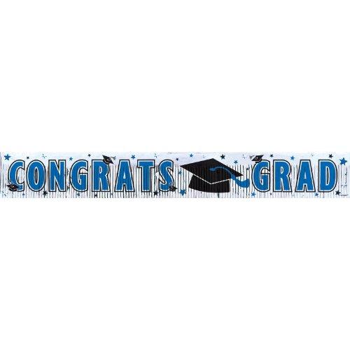 "Amscan Congrats Grad Graduation Party Metallic Fringe Banner Decoration, Blue, 5' x 8"""