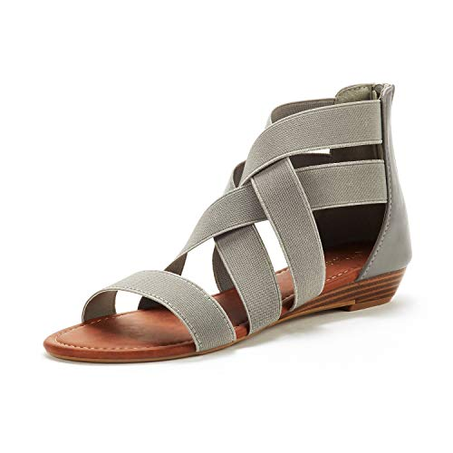 Gladiator Flat Sandals Heel - DREAM PAIRS Women's Elastica8 Grey Elastic Ankle Strap Low Wedges Sandals Size 7 M US