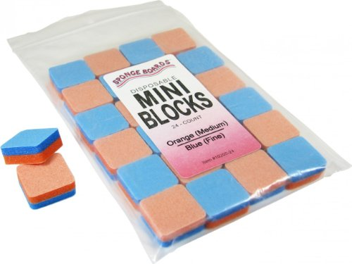 (Sponge Board Foam Mini Blocks, 1 Inch By 1 Inch, 24 Pack (Orange/Blue Medium/Fine))