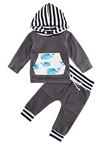 chicolife Toddler Infantile Manica Lunga con Cappuccio Set Neonati Maschi Patchwork Top Tuta Coulisse Pantaloni Outfit 0… 1