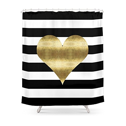 Cloud Dream Gold Heart Black And White Stripe Pattern...