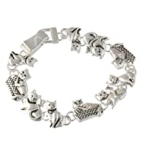 "Heirloom Finds Animal Playful Kitty Cats in a Basket Silver Tone Bracelet 7"" Long Magnetic Clasp"