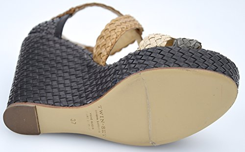 Twin Donna Sandalo cps3kd Brown Scarpa S3 Pelle set c Intrecciata Art Zeppa Marrone rIwBrq