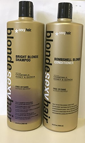 Blonde Bombshell Hair (SEXY HAIR BRIGHT BLONDE VIOLET SHAMPOO & BOMBSHELL BLOND CONDITIONER 33.8OZ EACH (DUO))