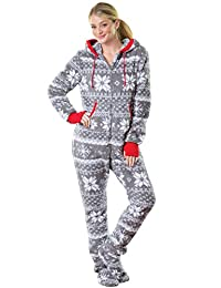 PajamaGram Hoodie-Footie Nordic Fleece Women's Onesie Pajama