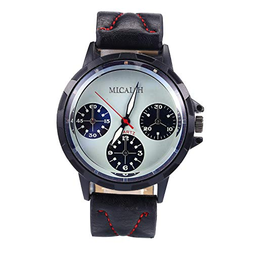 - Menton Ezil Men's Sport Leather Strap Analog Quartz Waterproof Watches Auto Calendar Wrist Watch for Teen Boys (Blue) … (Pink)