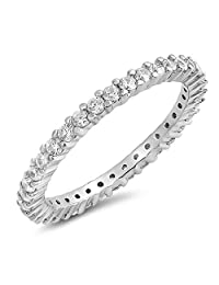 Glitzs Jewels 925 Sterling Silver Stackable Ring (Clear CZ) | Jewelry Gift for Women