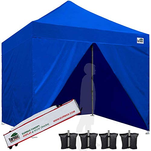 Eurmax 10'x10' Ez Pop-up Canopy Tent Commercial Instant Tent with 4 Removable Zipper End Side Walls and Carry Bag, Bonus 4 SandBags (Forest Green)