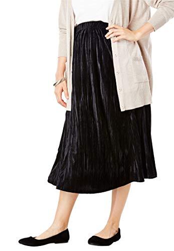 Woman Within Plus Size Velour Skirt - Black, 22/24