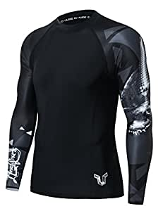 HUGE SPORTS Mens Wildling Series Quick Dry Compression MMA BJJ Rash Guard Rashguard Swim Swimming Surfing Shirt Tee Long Sleeve UV Protection(Alligator,XS)