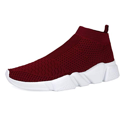 WXQ Women's Athletic Walking Shoes Lightweight Fashion Sneakers Breathable Flyknit Running Shoes Wine Red 36