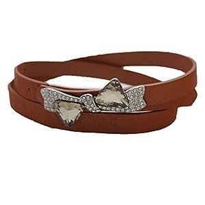 TFJ Women Fashion Belt Hip High Waist Silver Bow Tie Buckle S M Brown
