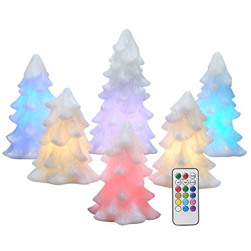 Eldnacele Christmas Tree Candles Battery Operated Flameless LED Color Changing Decorative Candles,Remote & Timer for Christmas/Home/Party/Halloween/Wedding Decor, White Set of 6