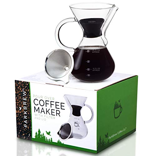 ParkBrew Pour Over Coffee Maker - includes glass pourover carafe (up to 27 fl. oz.), carafe lid, reusable coffee filter or dripper