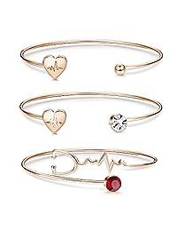Thunaraz 3 Pcs Nurse Bracelet Heartbeat Cuff Bracelets for Women Girls Jewelry Gift