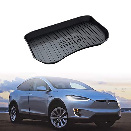 PGONE Rear Trunk Cargo Cover Boot Liner Tray Carpet Floor Mat Compatible with Tesla Model 3 2017 2018 2019 (Front - Rubber Liner Boot