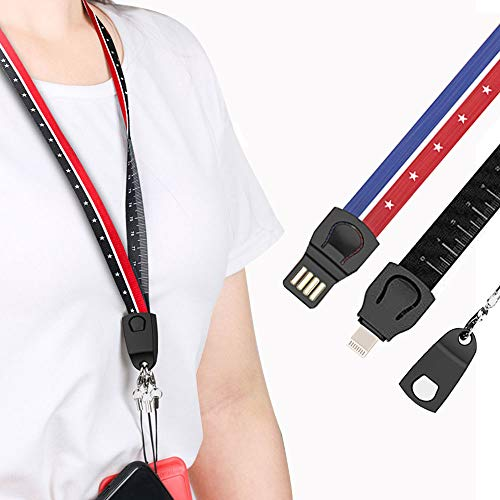Efanr Phone Lanyard Charging Cable, 3 in 1 Portable Fast Charger Neck Lanyard Measuring Style Adapter Charger Cable for Work Card Keychain Phone Case (Blue red Star, for Apple - Adapter Chain Neck