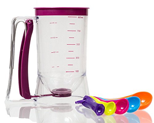 Pancake Batter Dispenser - SIDECAR Perfect Baking Tool for Cupcakes, Waffles, Muffin Mix, Crepes, Cake Bakeware Maker with Measuring Label -Free Bonus Spoon Measure(Colors May Vary) (Funnel Cake Batter Dispenser compare prices)