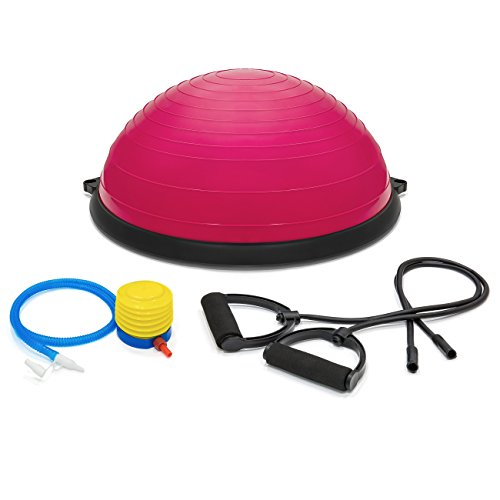 Best Choice Products Yoga Balance Exercise Ball w/ 2 Resistance Bands & Pump - Pink
