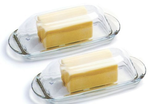 - Anchor Hocking presence Glass Butter Dish with Cover Set of 2