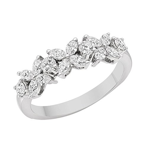 JewelsForum Royal Flower Cubic Zirconia Ring In 14k White...