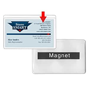 amazoncom storesmart magnetic business card holder 2 x 3 14 vinyl plastic open long white back 50 pack pe222mlw 50 office products - Magnetic Card Holder