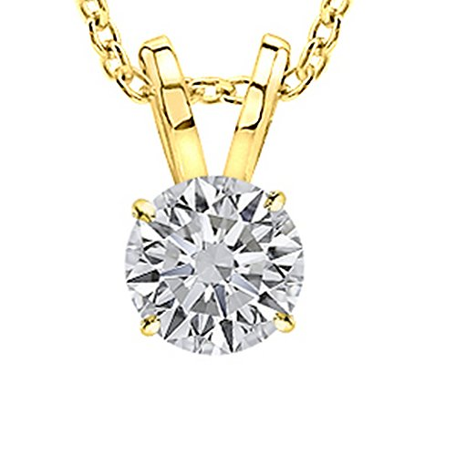Near 1 Carat 14K Yellow Gold Round Diamond Solitaire Pendant Necklace 4 Prong I-J Color SI2-I1 Clarity (Diamond I1 Necklace)