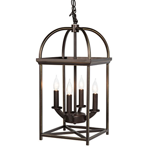 Cheap Best Choice Products Home 4-Light Ceiling Chandelier Hanging Foyer Lantern W/ Bronze Finish
