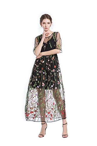 4312e05fff2 BaronHong Women s Floral Embroidered Tulle Prom Maxi Dress with Cami Dress 3  4 Sleeves  Amazon.co.uk  Clothing