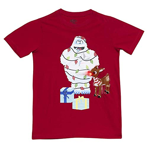 Twinkling Snow - LiteWear Boys Kids Children Rudolph The Red Nosed Reindeer's Bumble Snow Monster Graphic Light Up Holiday Christmas Tee Shirt RED 4/5