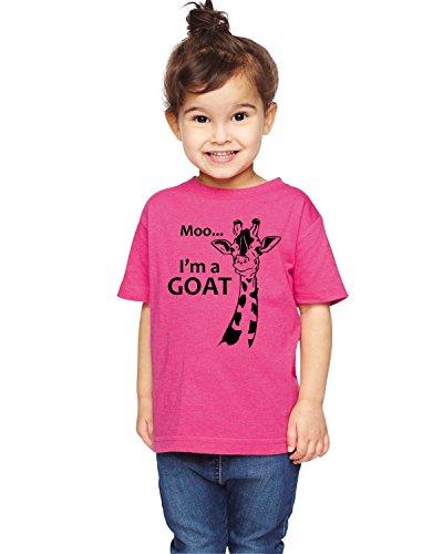Brain Juice Tees Moo Im A Goat Unisex Toddler Giraffe Shirt (3T, Vintage Hot Pink)