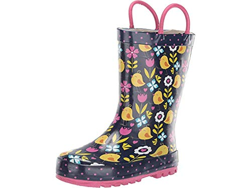 (Western Chief Kids Baby Girl's Limited Edition Printed Rain Boots (Toddler/Little Kid/Big Kid) Chick Floral Navy 13 M US Little Kid )