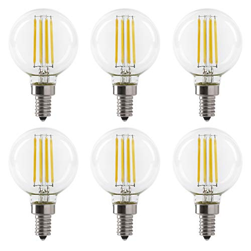 LED 5.5W G16.5 Clear Globe Filament Light Bulb, 50W Equivalent, 500 Lumens, 3000K Soft White, E12 Candelabra Base, Dimmable, 120V, UL Listed, (6 Pack)