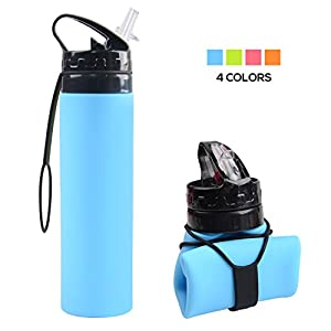 Collapsible Water Bottle, YUANFENG 20oz BPA-Free Leak-Proof Lightweight Silicone Sports Travel Camping Water Bottles (Sky Blue)