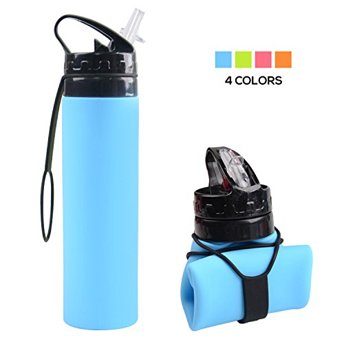 Collapsible Water Bottle  Yuanfeng 20Oz Bpa Free Leak Proof Lightweight Silicone Sports Travel Camping Water Bottles  Sky Blue
