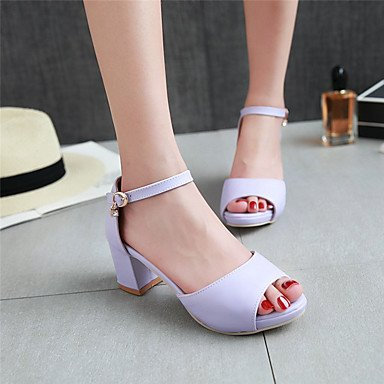 LvYuan Mujer Sandalias Zapatos formales Semicuero Primavera Verano Boda Casual Fiesta y Noche Zapatos formales Tacón RobustoNegro Beige Morado Blue