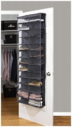 Simplify 26 Pocket Over-The-Door Shoe Organizer-Grey by Simplify