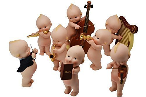 """KEWPIE Collectible Dolls Made of Bisque .4.75"""" Tall.Complete Set of 8 pcs.Musicians. Rare & Limited Edition."""