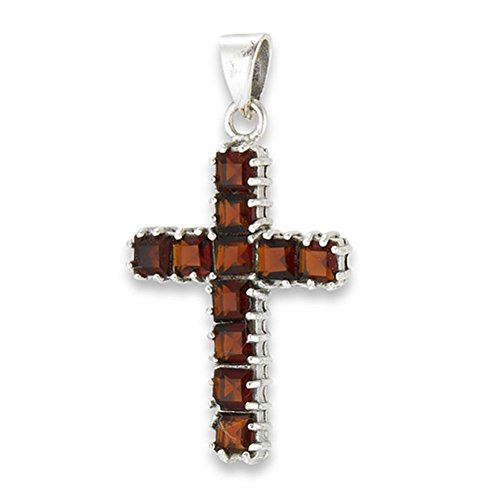 Lined Cross Pendant Simulated Garnet .925 Sterling Silver Christian Square Charm - Silver Jewelry Accessories Key Chain Bracelet Necklace Pendants ()